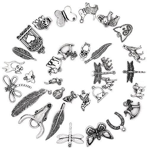 Ruby 50 piezas Colgantes de Metal Abalorios Estilo de Plata Tibetana Forma Mixta Varios Temas para elaborar bisutería (Animales e Insectos)