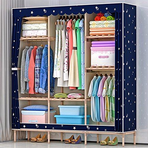 LESX - Tuch Schrank Modernes Easy Home Real Holz Bold Verstärkung 25 Mm Rohr Oxford Tuch Großes Doppelbett, Schrank Schmuck-schrank Elfenbein