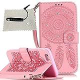 Hülle für iPhone 6s Campanula,TOCASO Glitter PU Schutzhülle für iPhone 6/6s 4.7 Flip Cover Wallet Case Tasche Handyhülle Strap Credit Card Slots Impressum n Schwarz Stylus Stift für iPhone 6/6s - Pink