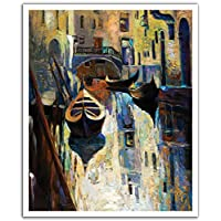 JP London POS2305 uStrip Peel and Stick Removable Wall Decal Sticker Mural Venice Canal Oil Painting, 19.75-Inch by 24-Inch