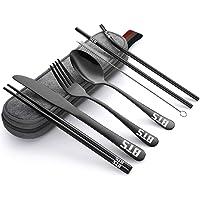 Jimiston 8pcs BTS Ustensiles portables Set en acier inoxydable Voyage Camping Couverts - Couteaux, fourchettes…