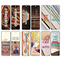 Creanoso Inspiring Sayings Reading Booknerd Bookmarks (30-Pack) - Inspirational Reading Quotes for Productive Reading Habits - Essential Bookmarker Collection Set for Men, Women, Adult, Teens
