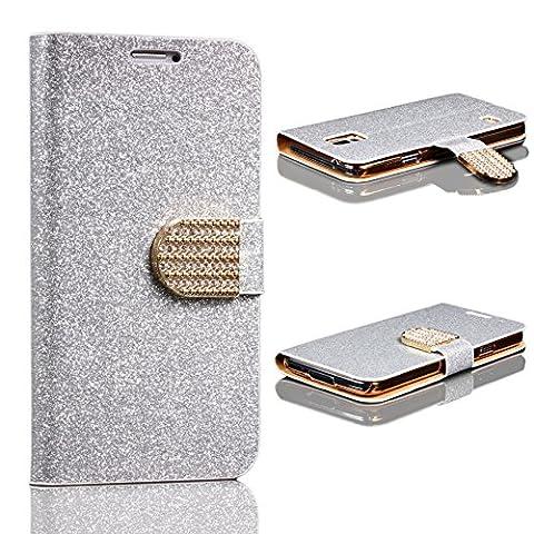 URCOVER Coque Portefeuille Housse Pochette Glittery Diamant pour Samsung Galaxy S5   Wallet Case Étui a Rabat avec Strass Scintillantes et Pailletté en Argent