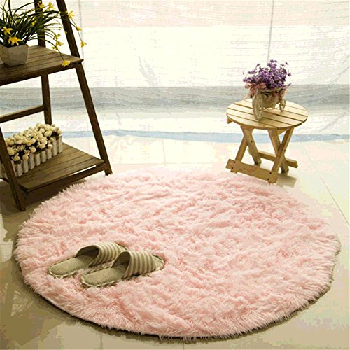 Teppich, CAMAL Runde Seide Wolle Material Yoga Teppich für Wohnzimmer Schlafzimmer und Bad (160cm, Rosa) (Grau Und Rosa Runder Teppich)