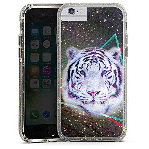 Apple iPhone 7 Bumper Hülle Bumper Case Glitzer Hülle Galaxy Tiger Dreieck Triangle Bumper Case Glitzer gold
