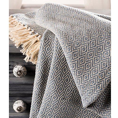Fair Trade Soft Hand Woven Tagesdecke Sofa Sofa Überwurf blau Diamant Muster, 100% Baumwolle 225x 250cm BS10 (Woven Hundebett)
