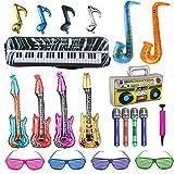 21 Pz Allazone Inflables Guitarra Saxofón Micrófono Globos Instrumentos Musicales Persianas Sombreadoras Accesorios para Decoración Infantil de Cumpleaños, Festival de Música