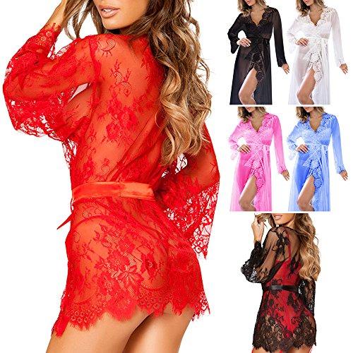 Wocharm Womens Sexy Elegant Lace Robe Nightwear Night Dressing Perspective Robe