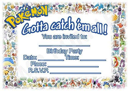Pokemon Geburtstag Party lädt-Landschaft verblasst Design-Party Supplies/Zubehör (12Stück A5Einladungen) WITHOUT Envelopes