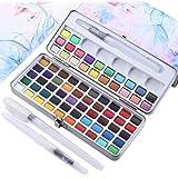 72 color enfärgad akvarellfärg set + 3 målarborstar, konventionell färg metallisk fluorescerande färg, komprimerad bärbar, pe