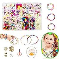 Pop Beads Set, DIY Jewelry Set BPA Free Making Necklace, Bracelet, Hairband and Ring Pop Snap Beads Set Creativity DIY Bead for Kids Girls Toddlers