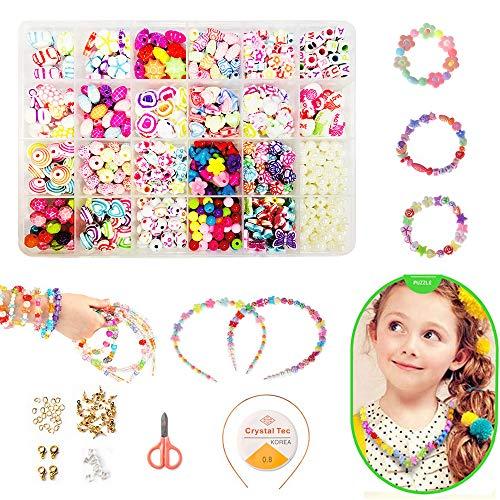 Perline Fai da Te per Bambini Set, Bambini Perline Acrilico Colorati Kit Set di Perline Fai da Te per Bambini, Braccialetti Fai da Te Gioielli Braccialetti Necklace Perline di Collane Che Fanno Kit