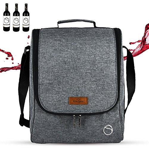 Freshore 3 Wein Totes und Carriers isolierte Tumbler Flasche Wein Tasche für Geschenk - hohe Kapazität Lagerung 2 Weingläser oder Champagner (Space Grey) Tote-geschenk-taschen