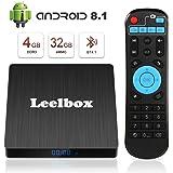 Android 8.1 TV Box - Leelbox Smart TV Box Q4 S 4 GB RAM & 32 GB ROM, Quad Core 64 bit Android Box Wi-Fi integrato/BT 4.1/ Box TV UHD 4K TV/USB 3.0 Media Player, Android Set-top-Box