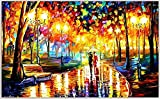 PRINTELLIGENT Down The Park Leonid Afremov Pallete Knife Art Unframed Canvas Painting (Multicolour, 12x18 Inches)