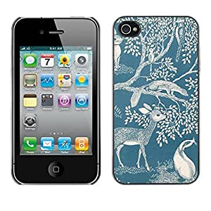 Omega Covers - Snap on Hard Back Case Cover Shell FOR Apple iPhone 4 / 4S - Deer Nature Spring Blue White Marble