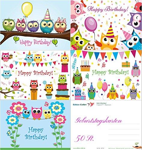50-er Set lustige Eulen-Geburtstagskarten (5 Motive á 10 St.) im Format A 6 - für Kinder und junge Erwachsene