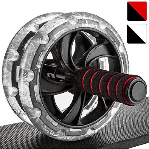 Proworks Roulette pour Exercices D'Abdos I Double Abdominale Machine avec Tapis pour Musculation et Activités Sportives - Noir/Roug