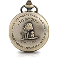 to My Son Pocket Watch Lion Pattern Engraved Pocket Watch for Son Gifts