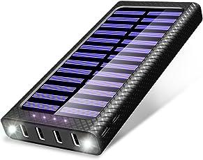 Powerbank TSSIBE 24000mAh Externer Akku, 5.8A / 4 Ausgängen Tragbare Power Bank mit 3 Eingängen(USB C & Lightning & Micro) und LED Leuchten für das iPhone, iPad, Samsung Galaxy und andere Smartphones/Handys