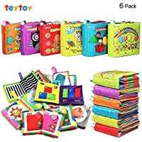 TEYTOY 6 PCS My First Soft Baby Book, Nontoxic Fabric Baby Cloth Books Early Education Toys Activity Crinkle Cloth Book for Over 1 years Toddler (New Version)
