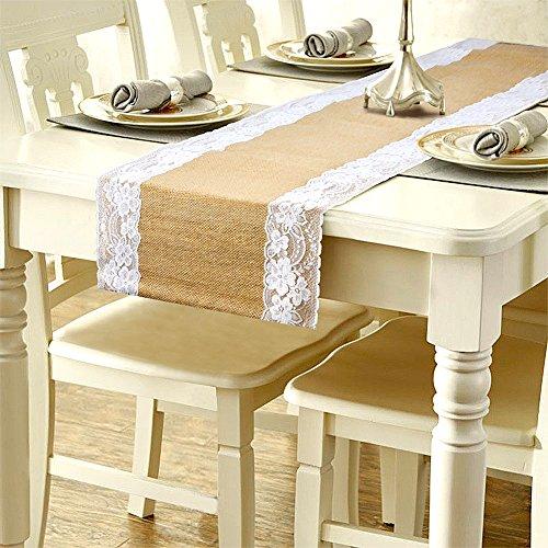 solesu camino de mesa, camino de mesa de encaje tela de yute de arpillera de yute natural rústico boda decoración para tapicería de arpillera yute al aire libre fiesta decoración de Navidad 275* 30cm, Blanco, 1 pieza