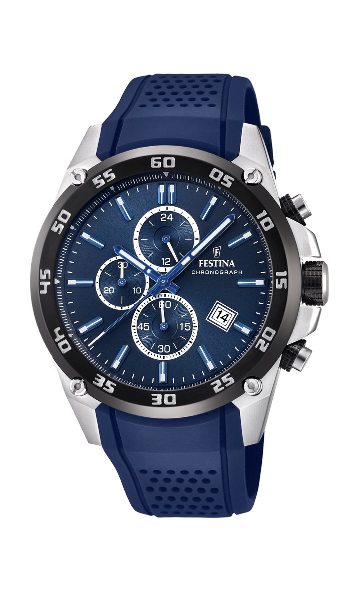 Festina Unisex Erwachsene Chronograph Quarz Uhr mit Leder Armband F20330/2