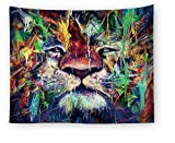 Aquarell Tier Wandteppiche Indian Tapestry Psychedelisch Tapisserie Wandtuch Indisch Wall Hanging,Wanddeko Indisch Wandbehang Strandtuch,Tagesdecke,Tuch,Picnic Throw Tiger 150 * 130cm