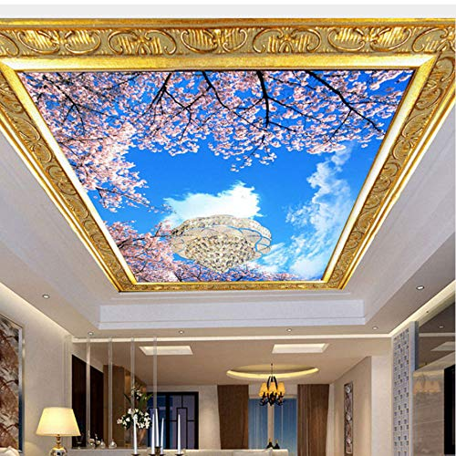 r Wohnzimmer Decke Tapete Rosa Blumen Himmel Wandbilder Verdicken Vinyl/SeideTapeten-250Cmx175Cm ()