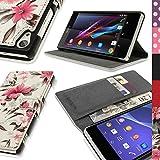 igadgitz Rosa y Crema Funda Eco Estilo Libro para Sony Xperia Z2 D6503 Con Ranuras Para Tarjetas + Protector Pantalla