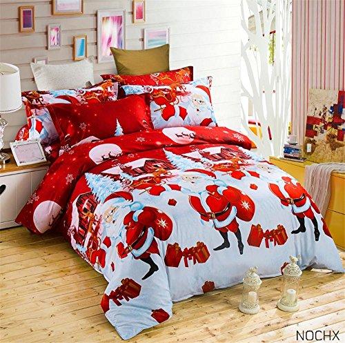 Zwei Könige Tröster (nochx Santa Claus Bettbezug Set (1Bettbezug, 1Bettlaken, 2Kissenbezüge), rot, Queen, 4Stück, C, Queen)