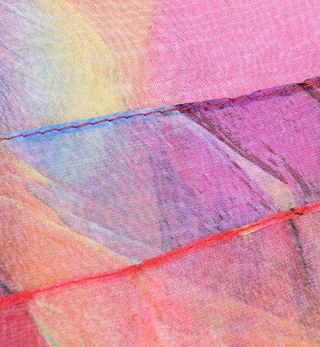 Sumolux Echarpes Châle Foulard de Plage en Mousseline de Soie Leger Anti UV Multicolore Imprimé pour Femmes Printemps Eté Automne rose rouge