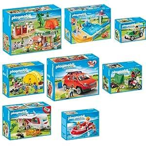 Playmobil camping complet set en huit parties 5432 5433 for Playmobil 5433 famille avec piscine et plongeoir
