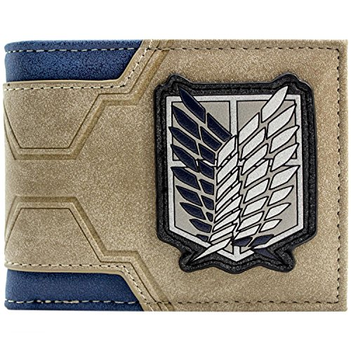 Attack on Titan Umfrage Corps Logo Japanese Geprägte Braun Portemonnaie Geldbörse (Groß Levis Hoch Und)