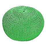 Invicta Interior Design Pouf LEEDS 50 cm grün Bezug aus Strick Garn Sitzgelegenheit Fußhocker Sitzpouf gepolstert Sitzkissen