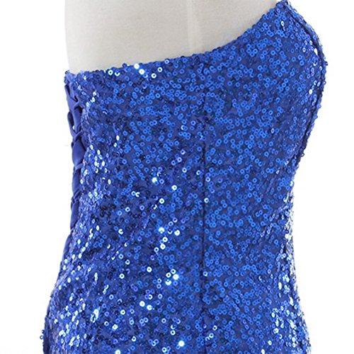 June's Young Femme Robe De Cérémonie Soirée Cocktail Mariage Robe Demoiselle D'honneur Bustier Longue Sexy Paillettes Bleu Foncé