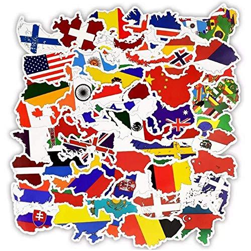 Aufkleber, Flaggen der Welt, Nationalflaggen, Bestens für Laptop, Macbook, Skateboard, Snowboard, Gepäck, Koffer, iPhone, Auto, Fahrrad, Stoßstange, 27 Stück - Welt Aufkleber