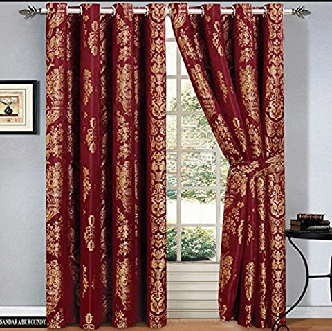 Ring Top Curtains Jacquard Fully Lined Eyelet Tape Pair Curtain + 2 Free Tie backs (2 x ( 90