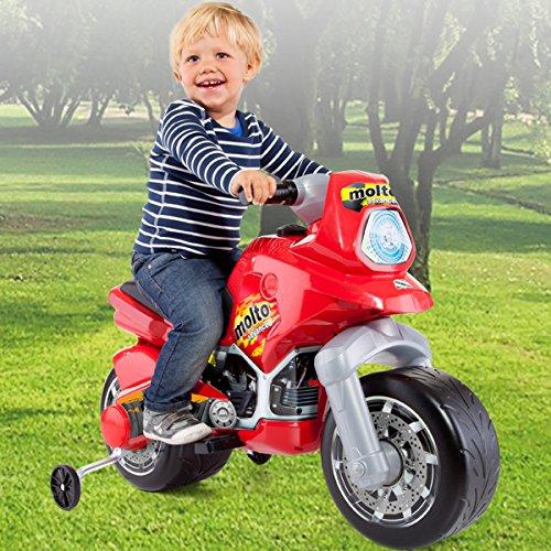 Elektro Motorrad mit breiten Reifen und abnehmbaren Stützrädern, 93x50 cm, mit 6V Motor, elektrische Lenkung und Bremssystem, Inklusive Batterie und Ladegerät, Kindermotorrad, Kinderroller ab 3 Jahren
