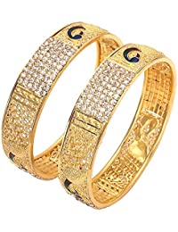 Geode Delight Gold Plated Peacock Design Kada Bangles For Women & Girls