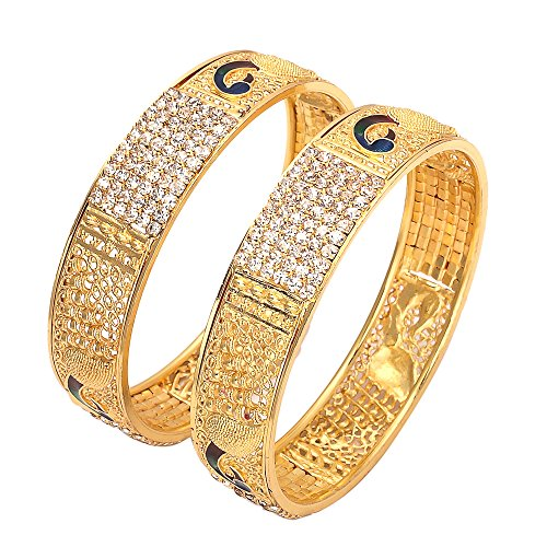 Geode Delight Gold Plated Peacock Design Kada Bangles for Women & Girls (2.4)
