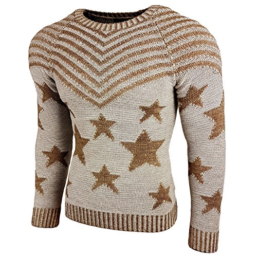 Subliminal Mode - Pull Over Star Homme Tricot SB-6263 Grosse Maille Beige