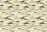 #9: Gift Wrapping Paper, Moustache Print Gift wrapping paper- Ideal for Father's Day, Set of 10 (12 inch x 18 inch)