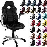 RACEMASTER Racing Bürostuhl GT Series One Gaming Chair Gamer Stuhl klappbare Armlehnen Schreibtischstuhl Wippmechanik Drehstuhl Farbe Schwarz