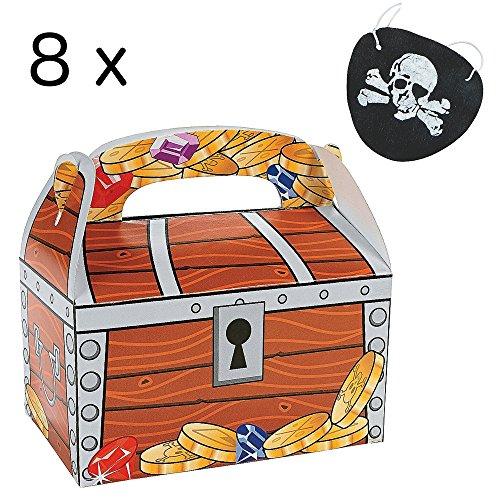 PIRATEN SET KLABAUTERMANN 8 x Schatztruhe Schatzkiste Schatz + 8 x Augenklappe Piratenklappe Piratenparty Schatzsuche (Schatztruhen-set)