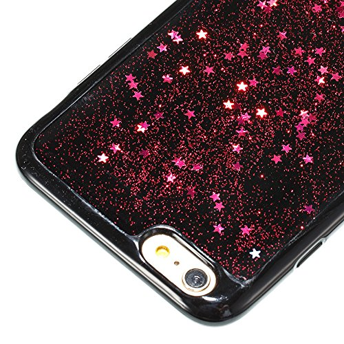 iPhone 6S Plus Hülle,iPhone 6 Plus Hülle,JAWSEU Bling Glitzer Shiny Mermaid Muster Crystal Klare Ultradünne Silikon Gel Schutzhülle Durchsichtig Kristall Transparent Bling TPU Silikon Bumper Schutz Ha Stern Rot
