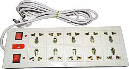 Msrs Sales LKC 10+1 Plug Point Extainsion Strip with 2 Power On/Off Switch,Fuse and Spark Suppressor