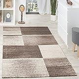 Paco Home Designer Teppich Hochwertig Kariert Konturenschnitt Meliert In Beige Braun Creme, Grösse:120x170 cm