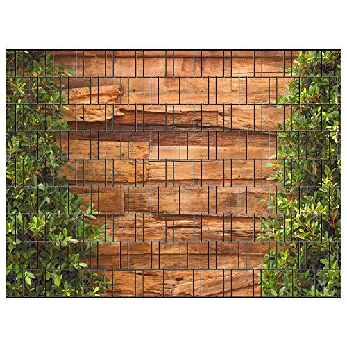 PerfectHD Zaunsichtschutz, Windschutz (30 versch. Motive) für Doppelstabmattenzaun *Holz und Lorbeer* einseitig, 19cm, 9 Streifen
