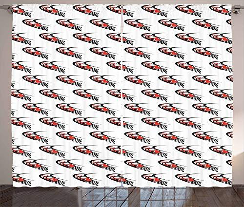 ABAKUHAUS Autos Rustikaler Gardine, Formel-Rennen-Sammlungs-Gewinn, Schlafzimmer Kräuselband Vorhang mit Schlaufen und Haken, 280 x 175 cm, Scharlachrot Weiß Schwarz - Rennen-auto-vorhänge